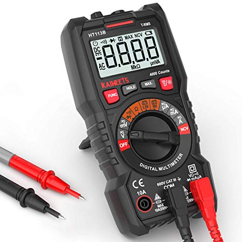 Digital Multimeter, KAIWEETS® Strommessgerät Auto Ranging True RMS 4000 Counts, Messung von AC/DC Spannung, Strom, Widerstand, Diode, Durchgangsprüfung, Battrietester für Zuhause, KfZ etc. (Rot)