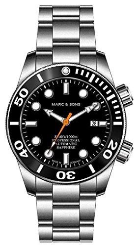 MARC & SONS - Orologio subacqueo automatico 1000 m, vetro zaffiro, valvola dell'elio, lunetta in...