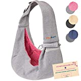 BUDDY TASTIC Pet Sling Carrier - Reversible and Hands-Free Dog Bag with Adjustable Strap and Pocket - Soft Puppy Sling for Pets up to 13 lbs (Grey/Pink)