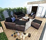 Mecor 7 Pieces Patio Furniture Sets, All-Weather Outdoor Sectional Conversation Sofa, Manual Weaving PE Rattan Wicker Sofa Sets with Cushions, Pillows and Glass Table, Brown