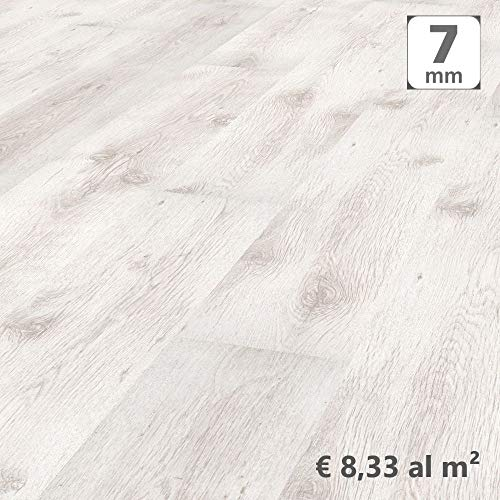 Pavimento Laminato Kronotex a Incastro, Rovere Ghiaccio Shabby, Scatola da 2,390 m/AC3. Spessore 7mm