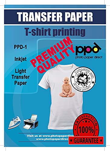PPD Inkjet PREMIUM Iron-On White and Light Color T Shirt...