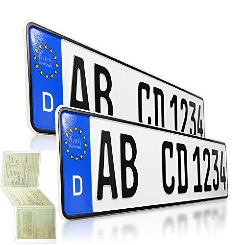 2 Kfz Kennzeichen   520 x 110 mm   DIN-Zertifiziert – EU Wunschkennzeichen mit individueller Prägung   PKW Nummernschilder   Standard Autokennzeichen   Auto-Schilder   DHL-Versand