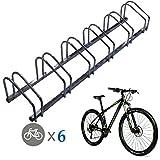 EasyGoProducts EGP-BIK-006-1 Floor Stationary Six Wheel Rack, Indoor – Outdoor Bike Stand, 6, Metal