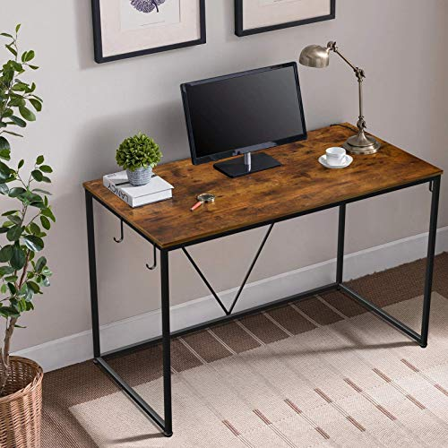 SIMBR Computer Desk Home Office 47'' Study Desk Gaming Desk for Bedroom, Simple Vintage Style with 3 Storage Black Metal Hooks, Corner Desk for Small Spaces, Easy to Assemble