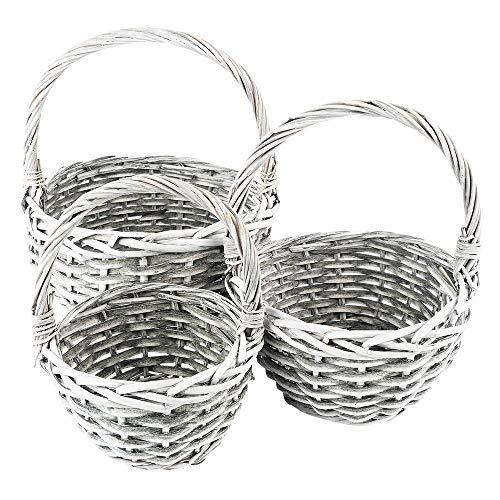 Set di cestini in vimini, 3 cestini in diverse misure: Ø14, Ø18, Ø21 cm, con manico, grigio, intrecciato, rotondo, piccolo, ideale come cesto regalo