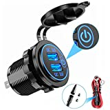 YONHAN Quick Charge 3.0 Dual USB Car Charger with Switch, Waterproof...