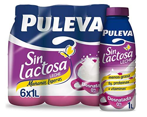 Puleva Leche Mañanas Ligeras Desnatada sin Lactosa, 6 x 1L
