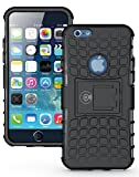 Cable And Case iPhone 6S Case, iPhone 6 Case Black [Heavy Duty] Tough Dual Layer 2 in 1 Rugged Rubber Hybrid Hard/Soft Impact Protective Cover [with Kickstand] Shipped from The U.S.A. - Black