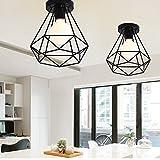 2 Pack E27 Plafonniers Industrielles Métal Cage Noir Vintage Suspension forme Diamant Rétro Luminaire d'eclairage
