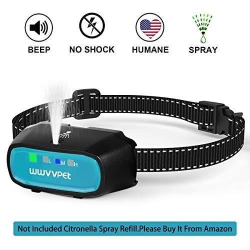 WWVVPET Spray Dog Bark Collar, (Not Include Citronella Spray) Citronella Dog Training Collar, Rechargeable Humane Safe No Shock Anti-Bark Collar, Sensitivity Adjustable