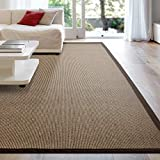 iCustomRug Zara Synthetic Sisal Collection Area Rug and Custom Size Runners, Softer Than Natural Sisal Rug, Stain Resistant & Easy to Clean Beautiful Border Rug in Chocolate 8' x 10'