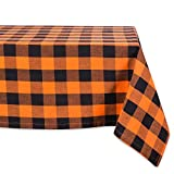 DII Buffalo Check Tabletop Collection for Family Dinners, Special Occasions and Everyday Use, Indoor/Outdoor, 60x84, Orange & Black
