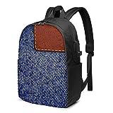 WEQDUJG Mochila Portatil 17 Pulgadas Mochila Hombre Mujer con Puerto USB, Etiqueta de Cuero Azul Jeans en Blanco Mochila para El Laptop para Ordenador del Trabajo Viaje