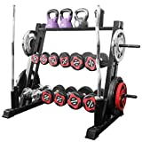 vin 3 Tier Dumbbell Rack, Dual Vertical Bar Rack All in One Dumbbell Rack Athletic Supply Set Storage Rack Holds Up to 1100 LB for Home Workout Gym Storage Stand