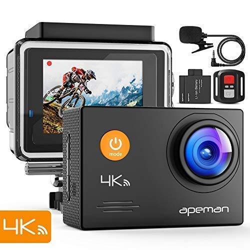 APEMAN Action Cam A79, 4K 16MP Wi-Fi Impermeabile 40M con Telecomando e Microfono Esterno Fotocamera Subacquea Digitale, Anti-Shaking Stabilizzazione Videocamera, Time Lapse Slow Motion