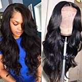 Lace Front Human Hair Wigs for Women Pre Plucked Hairline 150% Denisty Brazilian Body Wave Lace Front Wigs with Baby Hair Natural Color (16Inch)