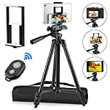 PEYOU Compatible for iPad iPhone Tripod, 55' Lightweight Aluminum Phone Camera Tablet Tripod + Wireless Remote + Universal 2 in 1 Mount Holder for Smartphone (Width 2.2-3.3'),Tablet (Width 4.3-7.3')