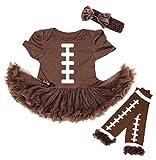 Petitebella Rugby Print Brown Bodysuit Brown Baby Dress Leg Warmer Nb-18m (6-12 Months)