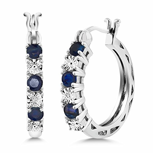 Gem Stone King 925 Sterling Silver Blue Sapphire and White...
