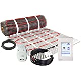 LuxHeat 180 Sqft Mat Kit (240v) Electric Radiant Floor heating system for under tile, stone & laminate. Includes Self-Adhesive heat Mat, Touch Screen Programmable Thermostat with GFCI & Cable Monitor