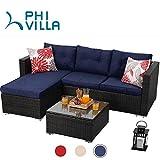 PHI VILLA Outdoor Rattan Sectional Sofa- Small Patio Wicker Furniture Set (3-Piece, Blue)