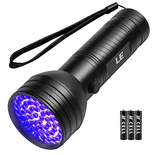 LE UV Flashlight Black light UV Lights, 51 LED Ultraviolet Blacklight Pet Urine Detector For Invisible Ink Pens, Dog Cat Urine, Dry Stains, Bed Bug and more, AA Batteries Included