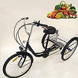 SENDERPICK 24 '6 Vitesses Adulte 3 Roues Tricycle, vélo Adulte vélo de pédale de vélo avec Panier Blanc pour Les achats de Sports de Plein air réglable (Noir)