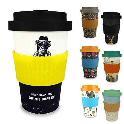 Morgenheld il tuo bicchiere di bambù alla moda   Coffee-to-Go bicchiere con coperchio a vite e fascetta in silicone, dal design futuristico, 400ml - Monkey_giallo