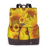 Yuanmeiju Womens Mochila de Cuero Beautiful Summer Flowers Shoulder Daypack Travel Bag Girls