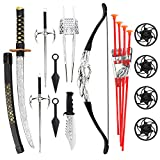 Liberty Imports Ninja Warrior Bow and Arrow Archery Set for Kids with Katana Sword and Toy Weapons