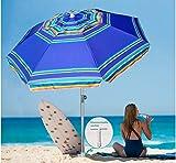 AMMSUN 7 Foot Heavy Duty HIGH Wind Beach Umbrella with sand anchor & Tilt Sun Shelter, UV 50+ Protection Outdoor Sunshade Umbrella with Carry Bag for Patio Garden Beach Pool Backyard Stripe Blue