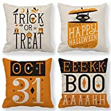 ULOVE LOVE YOURSELF Orange Halloween Decor Trick or Treat Pillow Covers Happy Halloween Pillow Cases Decorative Cushion Covers 18 x 18 Inches,Set of 4 for Couch/Sofa/Porch/Patio