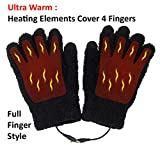 Obbomed MH-1025 Touchscreen USB 5V Composite Heating Element Warming Full Finger Stretchy Gloves –Connected to USB Port, PC, Laptop, Adapter for Power – Size : 9 x 5.9 inches, Black, Universal Size