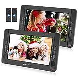 Pumpkin Lecteur DVD Portable Voiture Deux Ecran d'appuie-tête indépendants 10,1 Pouce (2 Lecteurs DVD) pour Enfants supporte Région Libre USB SD MMC Autonomie de 5 Heures