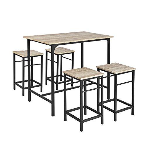 SoBuy® Set 5 Pezzi Tavolo con 4 sgabelli, Set di mobili da Balcone,OGT11-N,IT
