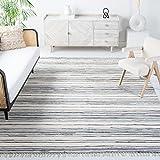 Safavieh Rag Rug Collection RAR126A Handmade Boho Stripe Cotton Area Rug, 8' x 10', Ivory / Grey