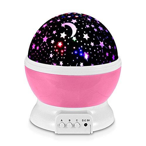 Redlemon Lámpara Proyector de Estrellas Giratorias para Niños, con Luz LED de Colores y 3 Modos de...