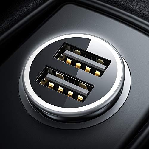 DIVI Chargeur de Voiture, USB Chargeur Voiture 4.8A/24W 2 Ports Mini Allume...