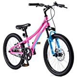 Royalbaby Boys Girls Kids Bike Explorer 20 Inch Bicycle for 7-12 Years Old Front Suspension Aluminum Child's Cycle with Disc Brakes Pink