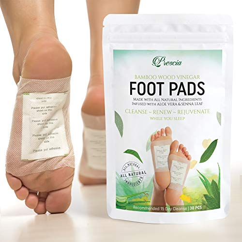 Foot Pads (30) Healthy Circulation, Pain & Stress Relief, Better Sleep, Cleansing, All Natural Herbal Bamboo Vinegar Foot - Body Care, Quality Adhesive Sheet Patch by Prescia