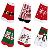 Haley Clothes Kids Christmas Socks Gift Holiday Cartoon Boys Girls Toddlers Baby Cute Cotton Crew Socks (6 Pairs, Size M, Fits for 3y-5y)