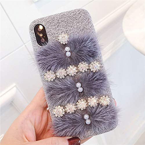 Autumn Winter for iPhone X XR XS MAXphone Flannelette Luxury Protective Cover 6S 7 8plus,Gray,for iPhone X