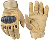 HIKEMAN Tactical Army Military Rubber Hard Knuckle Outdoor Full Finger Gloves for Men Fit for Cycling Motorcycle Hiking Camping Airsoft Paintball (Tan, Large) …