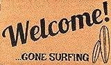 Gone Surfing Welcome Doormat Coir x 30 Inch Outdoor/Indoor Extra Thick Door Mat Vinyl Rubber Backing, Dark Navy Print, for All Weather & Seasons, Dog Durable, Trademarked Design