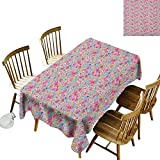 Rectangular tablecloths in a variety of colors and sizes Can be used for parties Kawaii Bunnies Ice Cream and Candies Doodle Style Cartoon Drawing Abstract W60 x L126 Inch Pink Turquoise Mustard