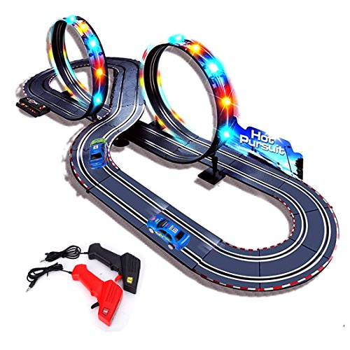 StarryBay 1/43 Scale Electric RC Slot Car Racing Track Sets Dual Speed Mode Race Track - Colorful LED Lights, 2 Slot Racing Car & 2 RC Handles Included(Cars are Packed in Other Place of The Package)