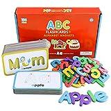 Curious Columbus A-Z - Tarjetas de memoria con letras magnéticas para niños pequeños, 26 letras del alfabeto con 78 letras de espuma, juegos para niños pequeños para ortografía y fonética
