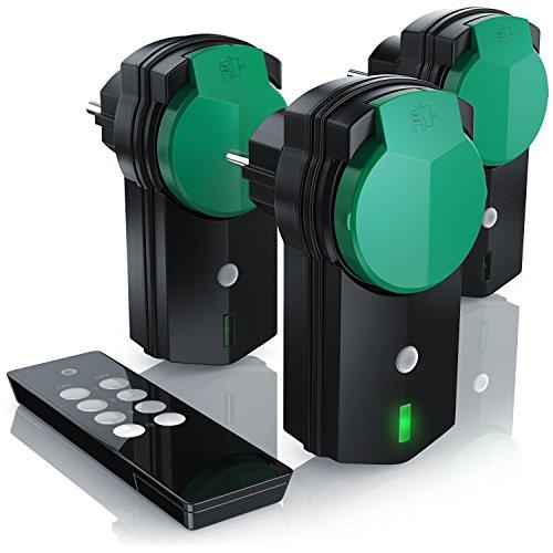 CSL - Outdoor Funksteckdosen Set 3 1 - für den Außenbereich - 3x Funkschalter-Steckdosen inkl. Fernbedieung - LED-Statusanzeige - integrierter erhöhter Berührungsschutz - 3680W - IPX4