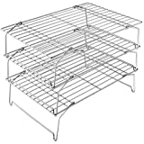 3-Tier Cooling Rack Set, P&P CHEF Stackable Stainless Steel Baking Cooling Roasting Cooking Racks for Cake, Pastry, Bread, Meat, Bacon, Collapsible & Thick wire, Oven & Dishwasher Safe - 15''x10''